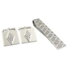 Vintage 1940s 50s ART DECO Signed Hand Crafted Sterling Silver & Marcasites Geometric Design CUFFLINKS & TIE BAR Set