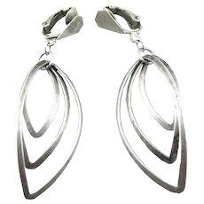BIG Vintage 1940s 50s Handmade Sterling Silver Geometric Modernist Kinetic Design Clip EARRINGS