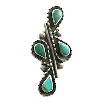 BIG Vintage 1960s 70s Native Tribal Old Pawn Handmade Sterling Silver & Turquoise RING Size 4