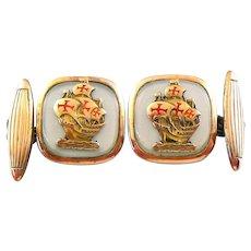 LOVELY Vintage 1930s 40s Signed ROCHAS Gilt Sterling Silver & Enamel MAN OF WAR Design CUFFLINKS