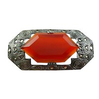 Lovely Vintage 1920s 30s Art Deco Germany Handmade Sterling Silver Carnelian & Marcasites Geometric Brooch PIN
