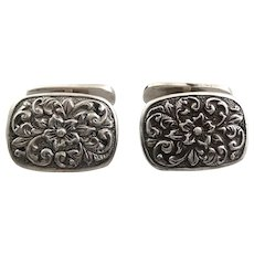 Gorgeous Vintage 1940s 50s SIGNED European Hand Etched 900 Silver Floral Design CUFFLINKS