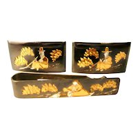 BIG Vintage 1950s JAPAN Handmade Sterling Silver Gold Overlay & Black Lacquer Seated Figures Cufflinks & Tie Bar SET