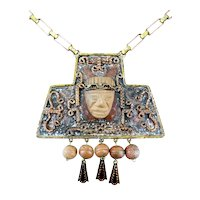 HUGE 1950s Maya Mexico Nancarrow Design Handmade Mixed Metals Bronze & Copper & Clay Face and Beads Pendant NECKLACE