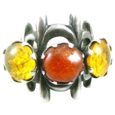 BIG Vintage 1960s 70s One of a Kind Custom Handmade Sterling Silver & Amber Spiky Modernist RING - Size 7