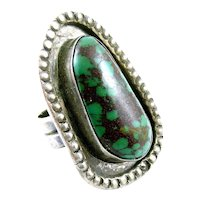 HUGE and Heavy 1960s 70s Jaycee Bee Navajo Handmade Sterling Silver & Turquoise RING - Size 11.5