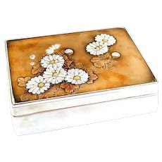 SUPERB Antique Meiji Japan Signed Mixed Metals Fine Silver Copper Gold & Wood Flowers Chrysanthemums Lidded BOX