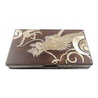 SUPERB Antique Meiji Japan Signed Handmade Fine Silver & Wood DRAGON Design Lidded BOX