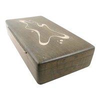 BIG Vintage 1950s Danish Modern Axel Salomonsen Denmark Handmade Sterling Inlay in Wood Modernist Design BOX