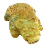 Antique Archaistic Chinese Han Dynasty Kun Lun Mountain Carved Jade Ceremonial Horned Effigy Figure SCULPTURE