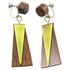 RARE Vintage 1950s Milton CAVAGNARO Handmade Wood Brass & Sterling Geometric Modernist Dangling Screwback EARRINGS