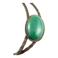 BIG Vintage 1960s 70s SIGNED Mexico Handmade Sterling Green Onyx & Leather BOLO TIE