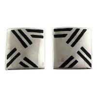 Vintage 1980s 90s Barbara CIESLICKI Handmade Sterling Silver & Enamel Geometric Modernist EARRINGS