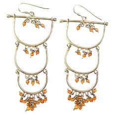 HUGE Vintage 1970s Ethnic Tribal Handmade Sterling Silver & Orange Glass Beads  EARRINGS