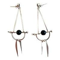 HUGE Vintage 1980s Handmade Sterling Silver Amethyst & Black Onyx Modernist Dangling Pierced EARRINGS