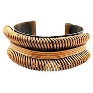 BIG Vintage 1940s 50s Handmade Copper Art Retro Moderne Design Cuff BRACELET