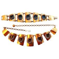 BIG Vintage 1950s 60s Handmade Copper Geometric Modernist Bracelet & Necklace SET