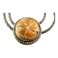 BIG Vintage 1960s 70s Handmade Sterling Silver & Fossil Rock Native Modernist BOLO TIE