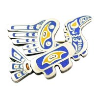 RARE Vintage 1950s 60s SIGNED Handmade Sterling Silver & Enamel Northwest Coast Native Tribal Bird Raven Brooch PIN