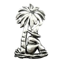 BIG Charming Vintage 1930s 40s Handmade Sterling Silver Figural SLEEPING MEXICAN Under PALM TREE Brooch PIN