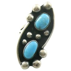 HUGE Vintage 1960s 70s Native Tribal Old Pawn Handmade Sterling Silver & Turquoise RING Size 7