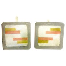 BIG Vintage 1950s Victoria Cony Taxco Handmade Mixed Metals Sterling Copper Brass Mexican Modernist CUFFLINKS