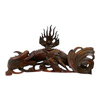MAGNIFICENT Vintage 1930s 40s Chinese Handmade Solid Wood Two Dragons seeking Pearl of Wisdom Table Top Carving SCULPTURE