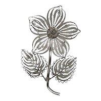 HUGE Antique Victorian Era Handmade Sterling Silver Filigree Floral FLOWER Design Brooch PIN