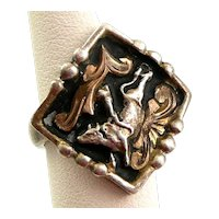 Vintage 1940s 50s MEXICO Signed Handmade Sterling Silver & 10K Goldfilled LEAPING BULL Ornate Design RING Size 7