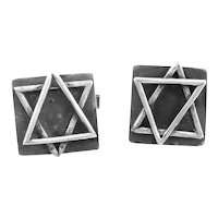 Vintage 1960s 70s Handmade Sterling Silver Studio Artisan Modernist STAR of DAVID Design CUFFLINKS