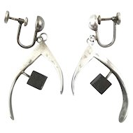 BIG Vintage 1950s Handmade Sterling Silver & Wood Modernist Wishbone Design EARRINGS