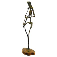 "HUGE Vintage 1960s 70s Harold KERR Chicago Forged Bronze Woman with Flowers Modernist Brutalist SCULPTURE - 26-3/4"" Tall!"