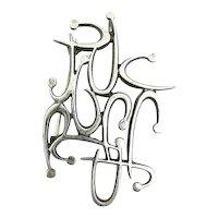 BIG Vintage 1950s 60s SIGNED Handmade Sterling Silver Cursive Letters Design Brooch Pin PENDANT