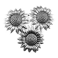 BIG Vintage 1960s BEAU Handmade Sterling Silver SUNFLOWERS Design Brooch PIN