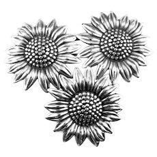 BIG Vintage 1960s BEAU Handmade Sterling Silver SUNFLOWERS Design Brooch PIN