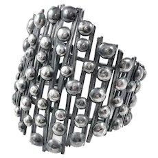HUGE Rare 1970s Rachel GERA Israel Handmade Sterling Silver Brutalist Modernist Statement Cuff BRACELET