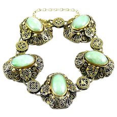 SUPERB Vintage 1930s 40s China Chinese Export Gilt Silver Filigree & Jadeite Jade SHOU Longevity Design Link BRACELET
