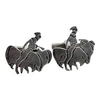 BIG Vintage 1950s 60s Mexico Handmade Sterling Silver BULL FIGHTER Toreador Design CUFFLINKS