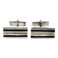 BIG Vintage 1960s 70s PUIG DORIA Spain Handmade Sterling Silver & Ebony Wood Geometric Modernist CUFFLINKS