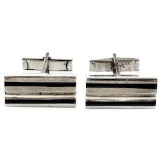 BIG Vintage 1960s 70s PUIG DORIA Spain Handmade Sterling Silver & Ebony Wood Geometric Modernist CUFFLINKS