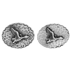 BIG Vintage 1940s 50s SIGNED Handmade Hammered Sterling Silver DUCKS IN FLIGHT Design CUFFLINKS