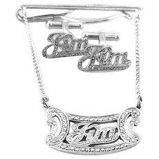 BIG Vintage 1940s 50s ART DECO Handmade Sterling Silver & Marcasite JIM Design Cufflinks & Tie Bar SET
