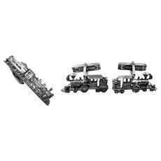 BIG Vintage 1950s Sterling Silver RIO GRANDE Railroad Train Design CUFFLINKS & TIE BAR Set