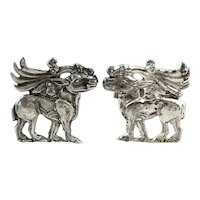 BIG Vintage 1950s 60s Handmade Sterling Silver Ornate Mythological Creature Design CUFFLINKS