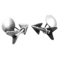 RARE Vintage 1920s 30s SIGNED Art Deco Handmade Sterling Silver ARROW Design CUFFLINKS