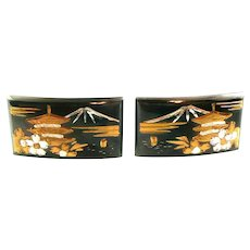 LOVELY Vintage 1950s Japan Handmade Mixed Metals 950 Silver Gold Overlay Pagoda Mount Fuji Design CUFFLINKS