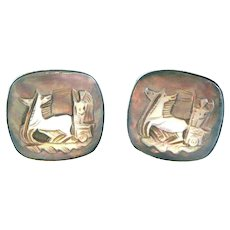 SIGNED Vintage 1950s Handmade Sterling Silver & Carved Abalone Shell Cameo Cubist Modernist Charioteer Design CUFFLINKS