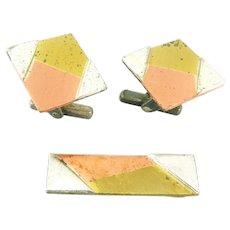RARE 1950s Victoria Cony Taxco Mixed Metals METALES Sterling Copper Brass Modernist Geometric Design Cufflinks & Tie Bar SET