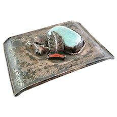 HUGE Vintage 1960s 70s Native Tribal Old Pawn Handmade Sterling Silver Turquoise & Coral LEAF Belt BUCKLE
