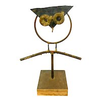 "BIG Vintage 1975 Signed San Diego California Handmade Mixed Metals Modernist OWL Design SCULPTURE - 16.5"" tall!"